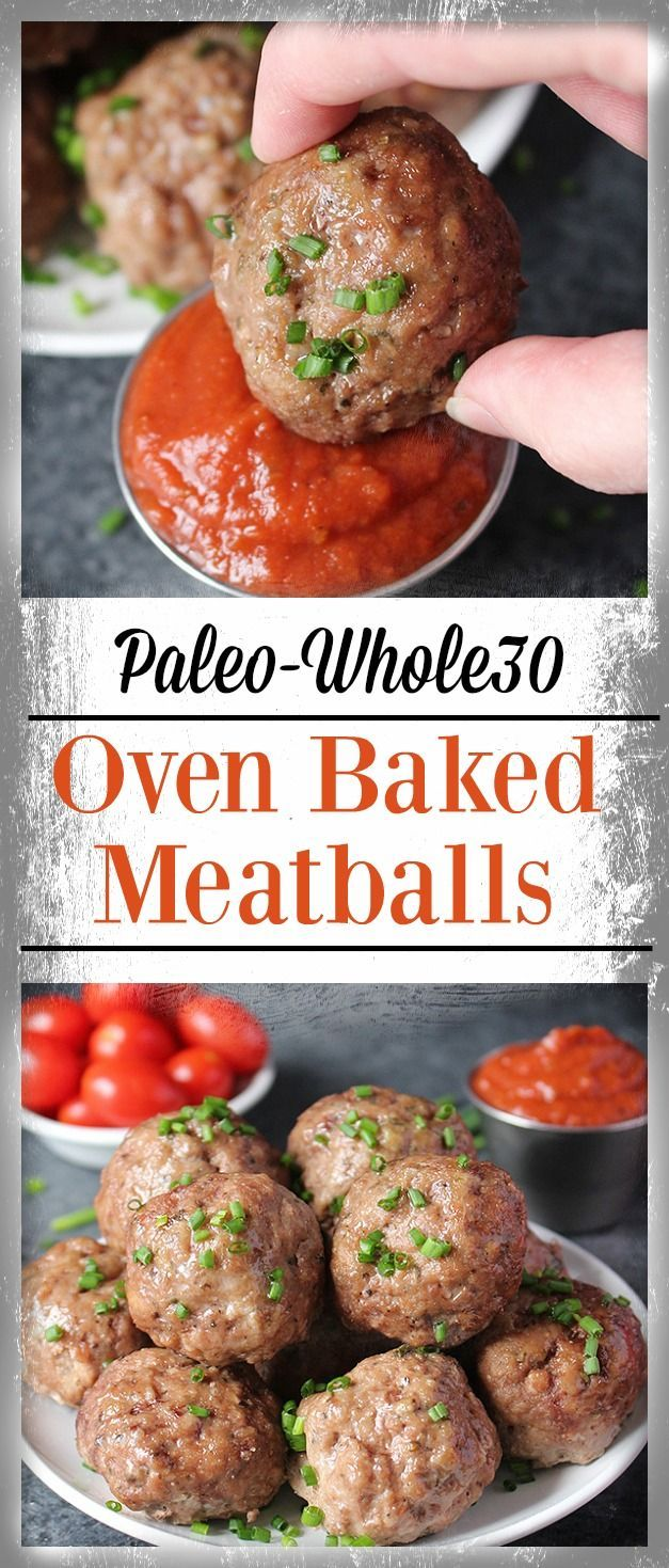 Easy Oven Baked Paleo Meatballs- tender, flavorful and so delicious! Ready in under 30 minutes. Gluten free, Whole30, and dairy free.