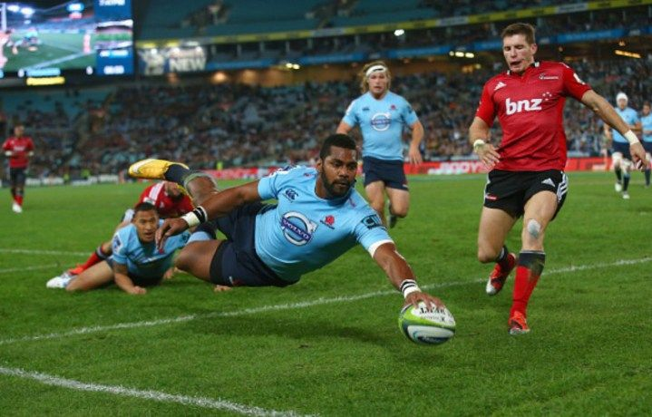 Taqele Naiyaravoro of the Waratahs scores a try during the round 15 Super Rugby match between the Waratahs and the Crusaders at ANZ Stadium on May 23, 2015 in Sydney, Australia Waratahs 32 vs 22 Crusaders