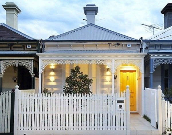 A charming modern house in Albert Park, Australia, has an exterior that pays homage to the Victorian cottage vernacular; designed by architect Matt Gibson. via remodelista
