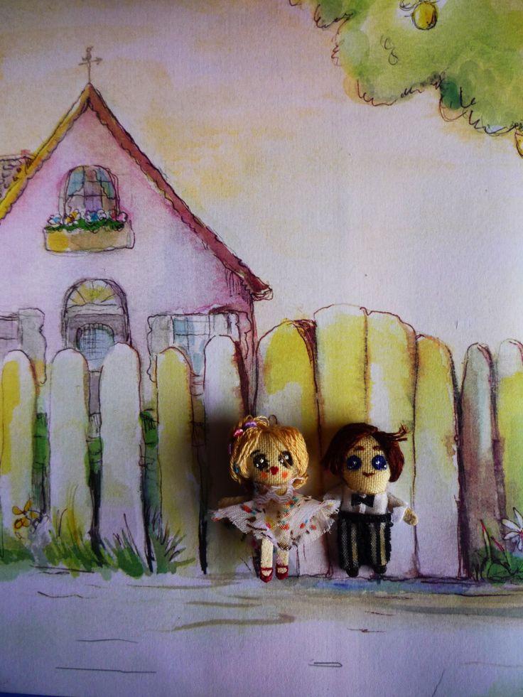 "Romantic Couple, Muñecos de trapo miniatura (1 1/2"" c/u). Miniature rag dolls (1 1/2"" each one). By Georgina Verbena"