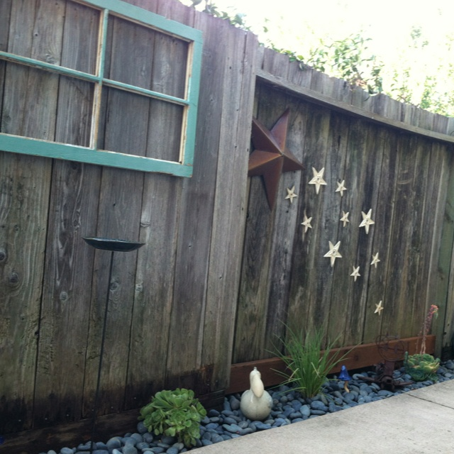 Fence Decor! I Bought Two Old Windows At A Salvage Store For $5.00 Each And