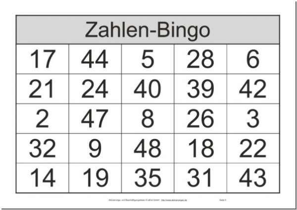 Bingo Spiel Mit Zahlen Zwischen 1 Und 48 Bingo Spiele Bingo Bingo Vorlage