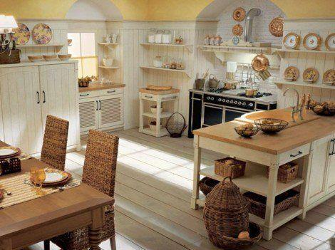 kücheneinrichtung-englischer-stil-weißer-küchenschrank-korbmöbel