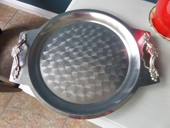Metal Serving Tray with Handles Stainless by EnglishGardenVintage