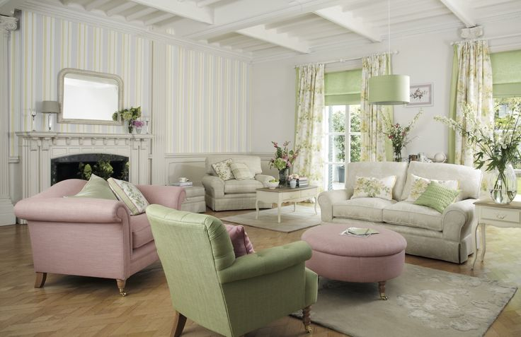 Adore this look for the front room. Honeysuckle curtains with apple green edge, apple green & pink accents to pick out colours in the curtains. Off white walls. Unsure about wallpaper though. Flower Marquee / AW 2014 / Laura Ashley / Home Collection