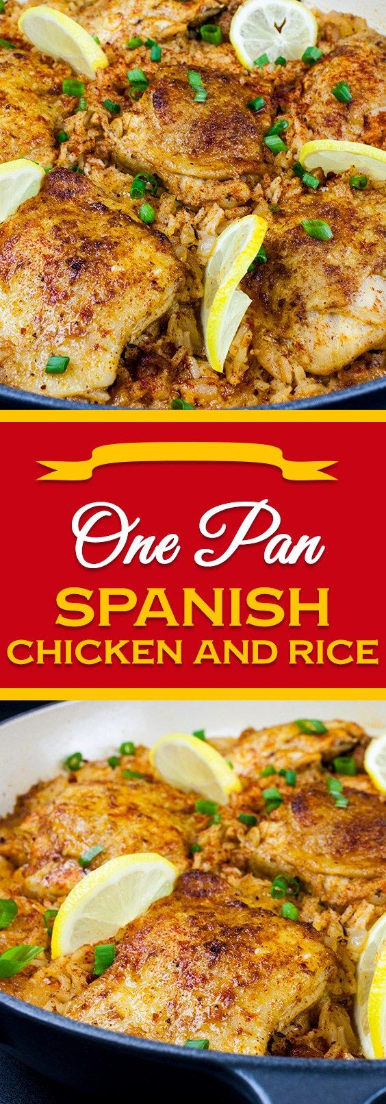 One Pan Spanish Chicken and Rice - Crispy zesty chicken nestled in bold mouthwatering, flavorful rice.A fabulous one-pan-meal.#dinner