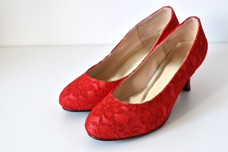CLASSIC RED LACE CUSTOM MADE WEDDING BRIDAL SHOES   Beautiful and elegant bridal shoes in red lace with fully customisable heel and optional add on accessories.