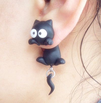 Black cat earring