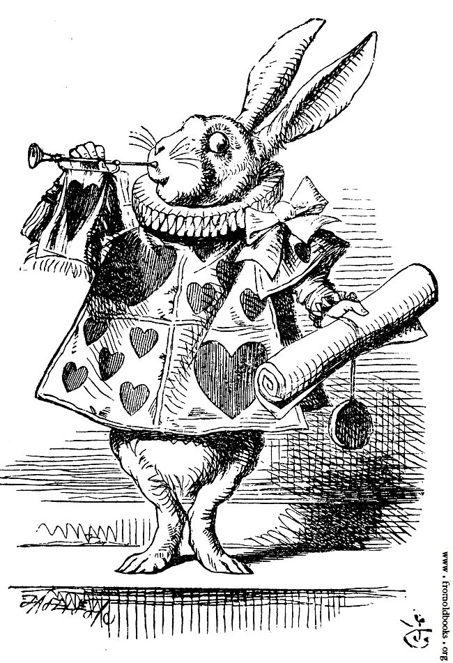 Alice in Wonderland novel | White Rabbit, dressed as herald, blowing trumpet [image 342x500 pixels ...