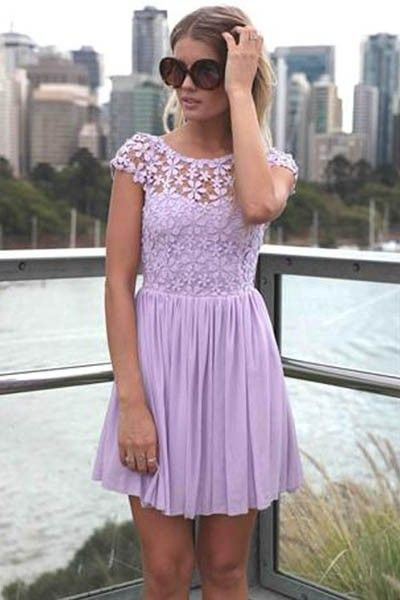 This casual dress features round neckline, short sleeves, crochet lace bodice, low back design with zipper closure, pleated chiffon skirt.