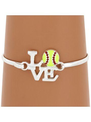 Love Softball Silvertone Bangle #JB4360-SYE | Wholesale Accessory Market