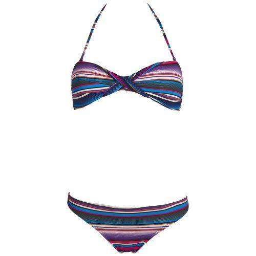 Chiemsee Bandeau Bikini Badeanzug Tankini Ebony - Traje de dos piezas para competición de mujer, color multicolor, talla L