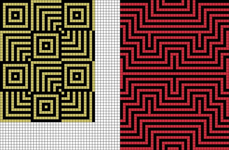 Grid designs from Grid Paint. Modern Quilt inspiration. Tapestry Crochet Inspiration.