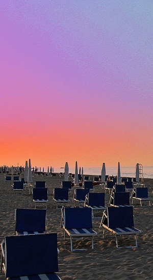 The Beach at Riccione, Italy   ...photographer not listed...