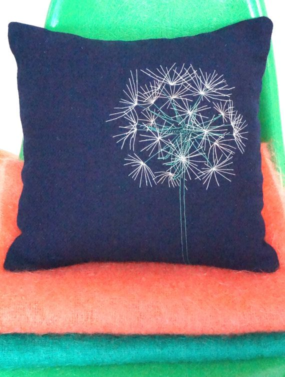 Two Harris Tweed cushion covers with embroidered by Hebridoodle