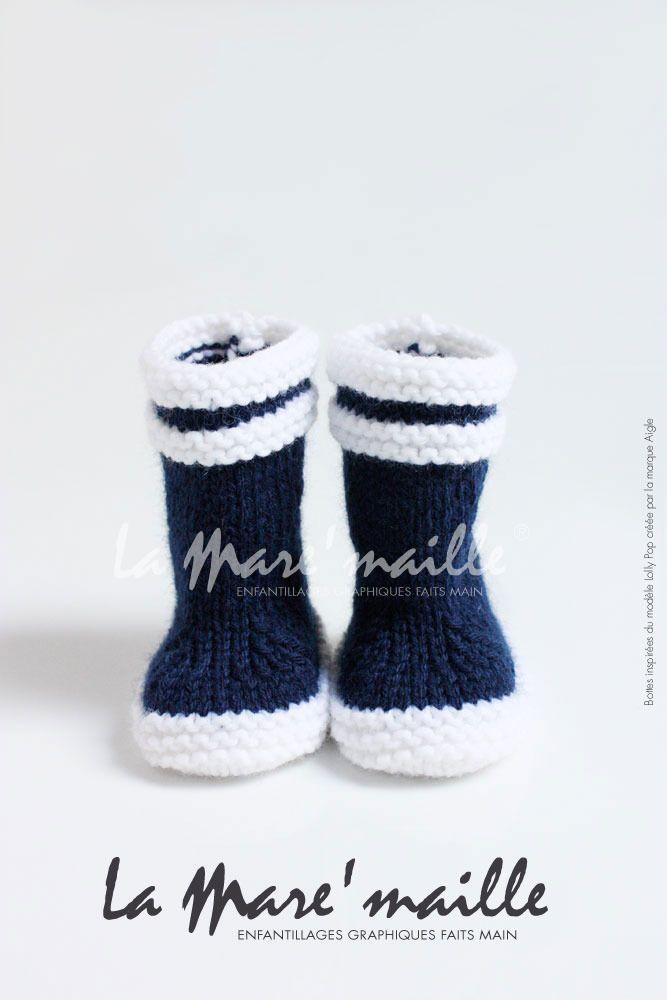 Bottes marin bébé en laine bleue inspirées des bottes Aigle®