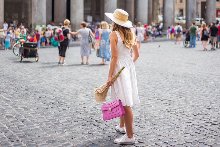 Outfit Details: J.Crew Dress (on sale, also love this similar option), Urban Outfitters Hat (on sale for $20), Bulgari Bag (borrowed), Lacoste Sneakers   We had to take a train from ...