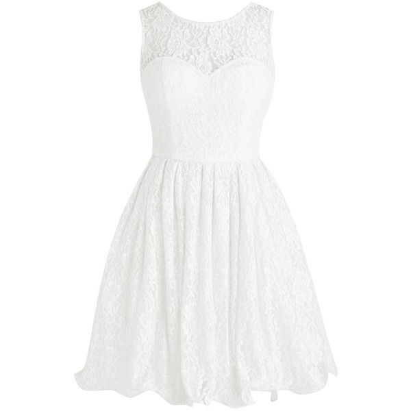 Tideclothes Short Lace Bridesmaid Dress Cute Bowtie Prom Evening Dress ($88) ❤ liked on Polyvore featuring dresses, white dress, white lace cocktail dress, short white dresses, short dresses and lace dress