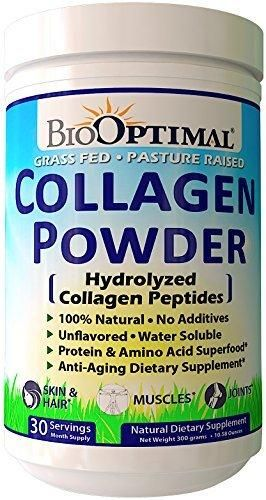 BioOptimal Collagen Powder Collagen Peptides Grass Fed Non-GMO Premium Quality Hydrolyzed Collagen Protein Pasture Raised Dissolves Easily 300 Grams