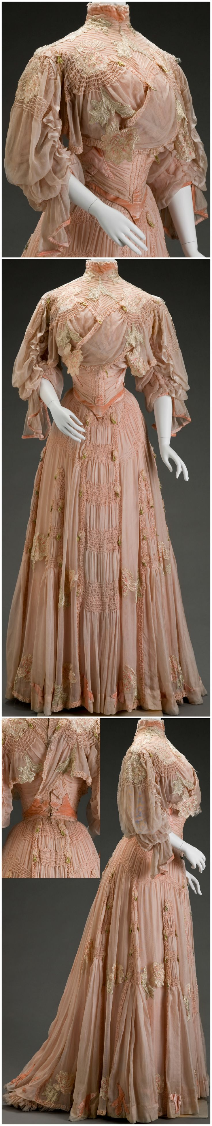 "Day dress, by Girolamo Giuseffi, G. Giuseffi L.T. Company, Design House (American), at the Indianapolis Museum of Art. IMA: ""The appliquéd and cutout stylized flowers—either peonies or plum blossoms—are drawn in an Art Nouveau style, which was prevalent from 1890 to 1914. The dramatic sleeve silhouette along with the great amount of ruching and hand pin tucking throughout the bodice and skirt make this a very expensive garment, perhaps part of a trousseau."""