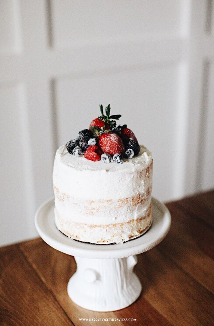 6 Inch Three Layer Vanilla Cake With Vanilla Frosting And Sugared Fruit Happy Together Vanilla Recipes Baking Recipes Cake