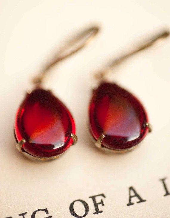 Red Earrings Dangle Earrings Vintage Earrings by NotOneSparrow