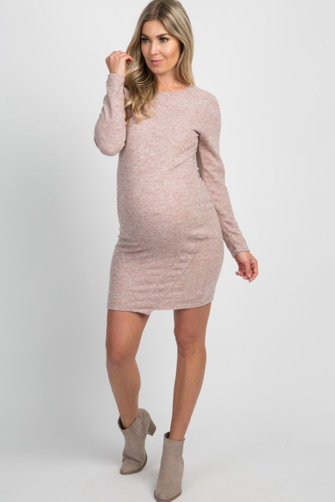 f496e517ed1 Pink Heathered Long Sleeve Sweater Midi Maternity Dress
