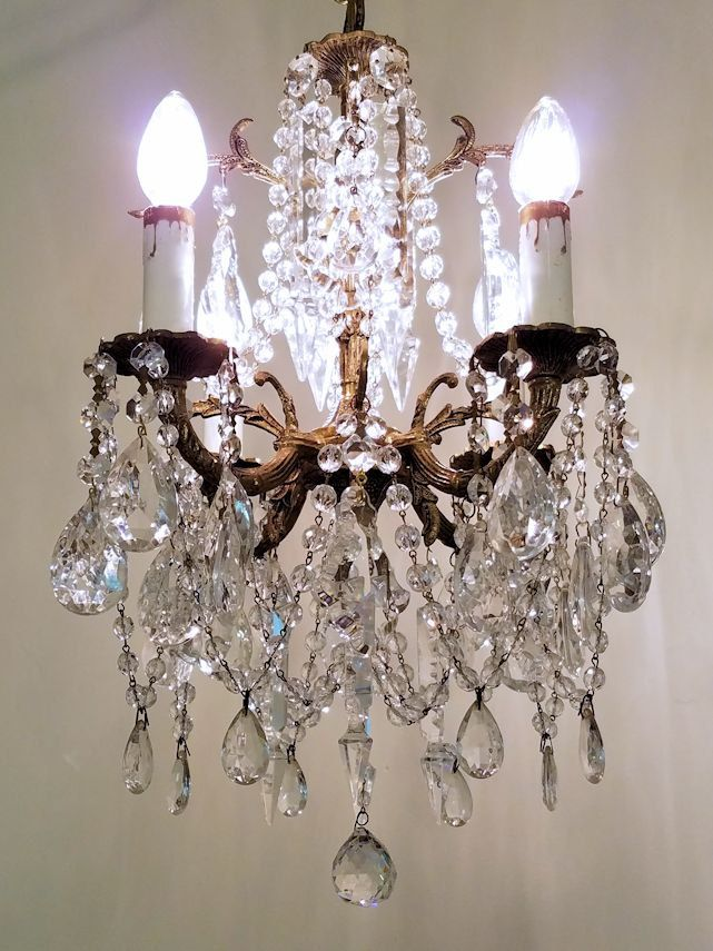 Antique Brass and Crystal Petite Chandelier, Small Vintage Chandelier,  Vintage French Chandelier, Vintage Lighting,… | HOUSE OF EXTRAVAGANT  NECESSITIES ... - Antique Brass And Crystal Petite Chandelier, Small Vintage