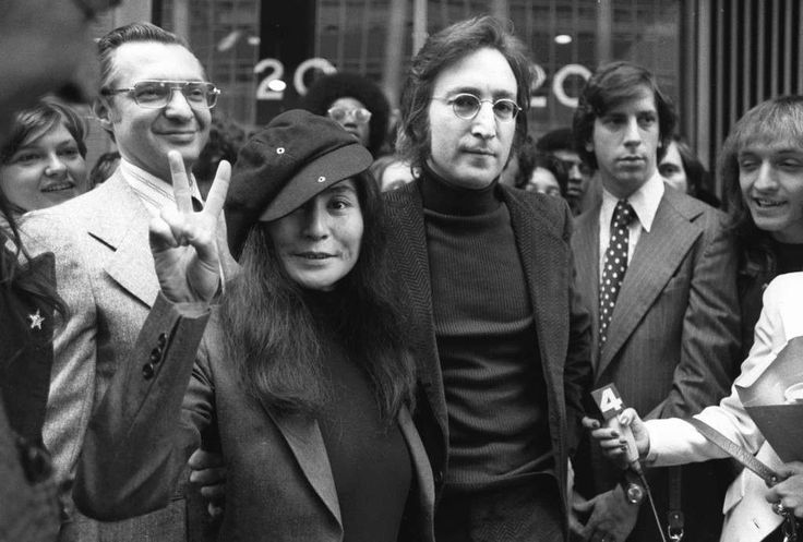 In this April 18, 1972, file photo, John Lennon and his wife, Yoko Ono, leave a U.S. Immigration hearing in New York City. The argument over President Barack Obama's legal authority to defer deportations begins 42 years ago with a bit of hashish, a dogged lawyer and, yes, John Lennon and Yoko Ono. Lennon was facing deportation from a Nixon administration eager to disrupt the ex-Beatle's planned concert tour and voter registration drive. The case hinged on Lennon's 1968 conviction for…