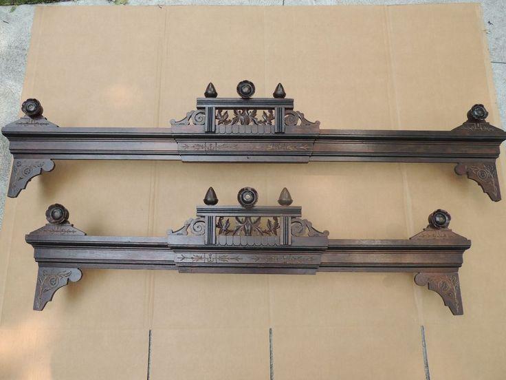 Beautiful Pair 19c Victorian Eastlake Window Valance Cornice Adjustable #Victorian