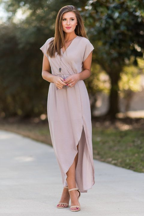 """""""Ethereal Ease Maxi Dress, Taupe"""" This maxi dress is wonderfully ethereal! It's so light and flowing!! It has a flattering surplice neckline and elastic waist that helps define you already amazing figure! #newarrivals #shopthemint"""
