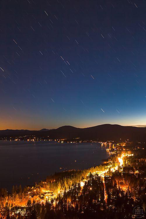 """""""Kings Beach at Night 2"""" - Photograph of Kings Beach, Lake Tahoe shot at 9:30 at night."""