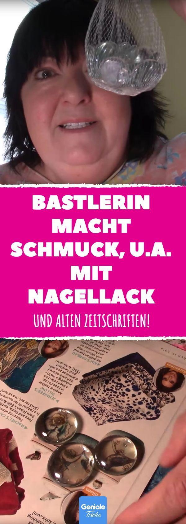 Bastlerin macht Schmuck, u.a. mit Nagellack und alten Zeitschriften! #diy #schmu