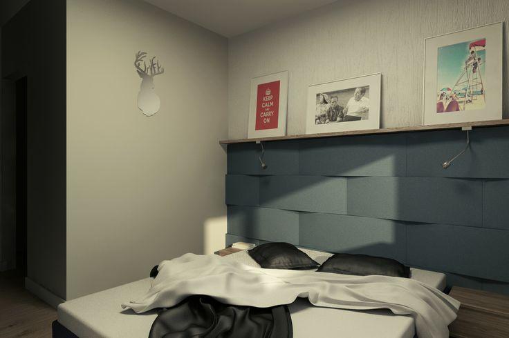 Sypialnia z wykorzystaniem miękkich paneli ściennych 3D Fluffo, Fabryka Miękkich Ścian (kolekcja DUNE). Projekt by:  www.2k-architektura.com