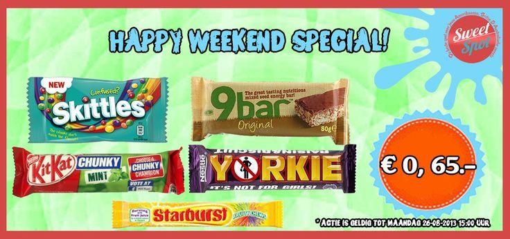 We hebben elke Vrijdag een nieuwe 'HAPPY WEEKEND SPECIAL' Vandaag de Kit Kat Mint en Skittles Confused voor maar € 0,65 .-Op=Op  http://www.sweet-spot.nl/collections/aanbiedingen