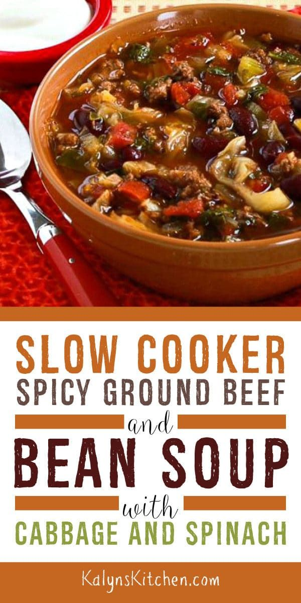 Slow Cooker Ground Beef Soup With Cabbage Kalyn S Kitchen Recipe Soup With Ground Beef Ground Beef Spicy Soup Recipes