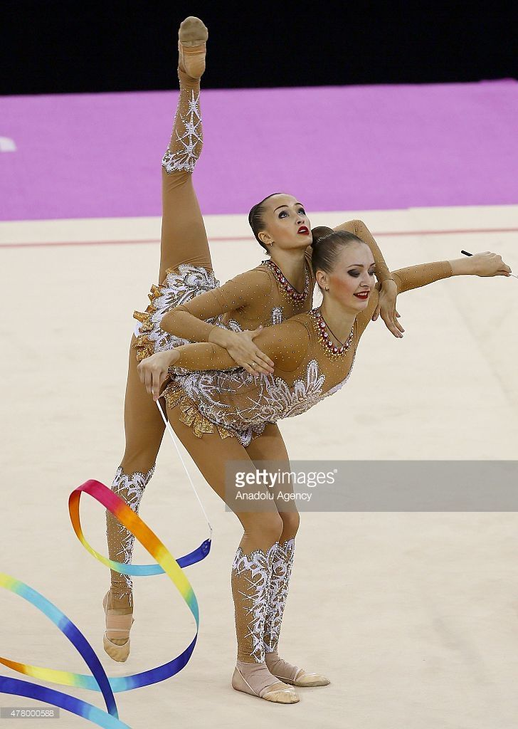 Russia compete during the Rhythmic Gymnastics Group Ribbon final on day nine of the Baku 2015 European Games at the National Gymnastics Arena on June 21, 2015 in Baku, Azerbaijan.