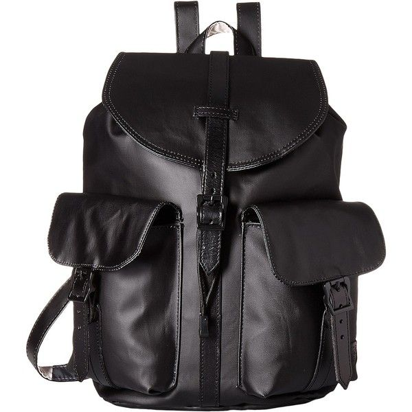 Herschel Supply Co. Dawson (Black/Black Veggie Tan Leather) Bags (5.795 RUB) ❤ liked on Polyvore featuring bags, black, striped bag, backpack bags, leather zipper bag, herschel supply co backpack and padded backpack