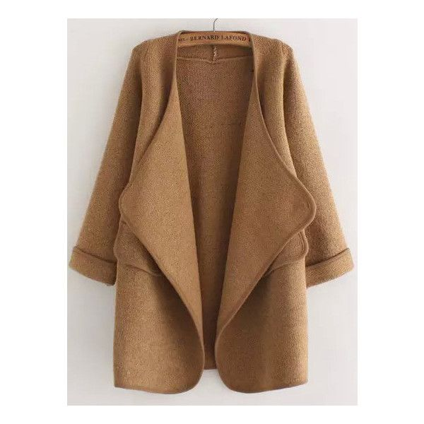 Khaki Long Sleeve Stitch Pocket Loose Cardigan ($36) ❤ liked on Polyvore featuring tops, cardigans, jackets, outerwear, sweaters, khaki, loose fit tops, cardigan top, loose fitting tops and short-sleeve cardigan
