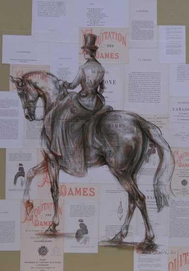 Marine Oussedik - Peintre - Sculpteur equitation des dames 2, encre, craie, fusain et collage