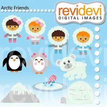 Clip Art Arctic Friends 07446 Eskimo Alaska Kids Bear Penguin Ice