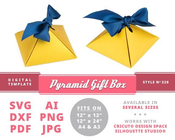 Packaging Printables PYRAMID GIFT BOX Instant Download Printable Digital Box Template Gift Paper Little Papercraft Party Favor Boxes By