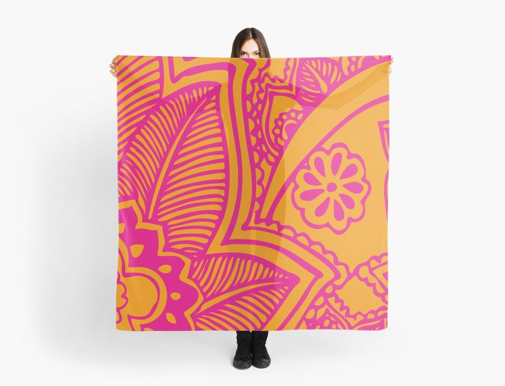 Mehndi Tattoo Pattern Scarf | Pink and Orange | Scarves | by Eclectic at HeART