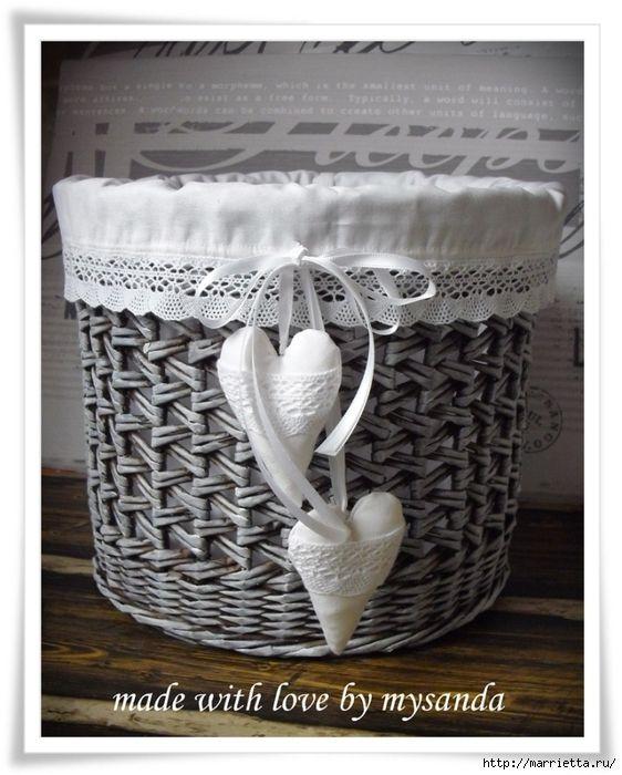 Плетение из газет. Идеи и мастер-класс плетения круглого дна корзинки (25) (562x700, 263Kb)