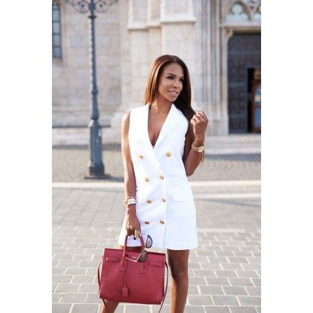 Tuxedo dress, white Business dress, gold button