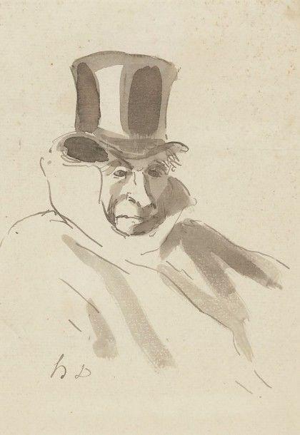 Honoré DAUMIER (1808-1879) Portrait d'un bourgeois Dessin à l'encre et lavis d'encre. Monogrammé en bas à gauche. Cachets des collections Paul-Frantz Marcou (Lugt 1911b) et Valentine Marcou-Trouvelot (Lugt… - Ader - 13/11/2015