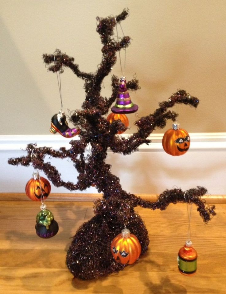 halloween glitter tree with glass ornaments center piece decor