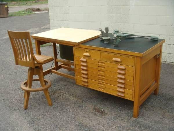Vintage Industrial Oak Hamilton Drafting Desk Table w Flat Files + 2 D - $1995 (Hamden, CT)