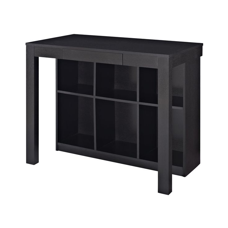 Altra Furniture 9394096 Parsons Style Desk With Drawer And Bookcase Black Oak Finish