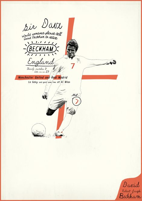 Very cool, and very extensive, series of posters of Soccer legends by Zoran Lucic.  All my love Beckham <3